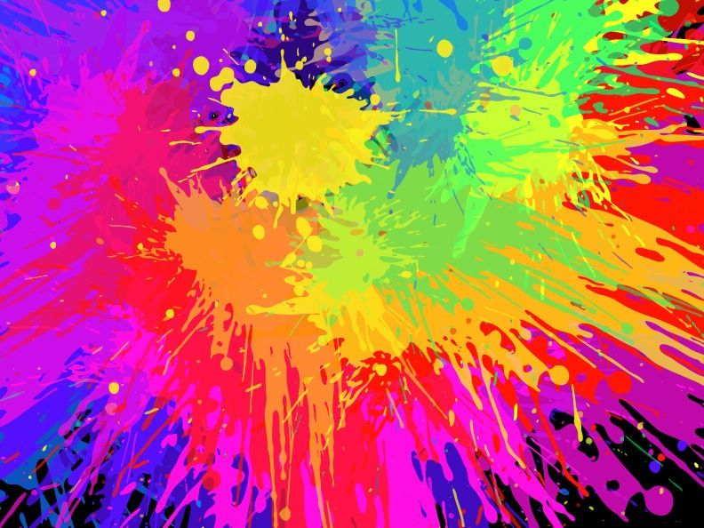 bright colorful art colorful paint splats vector
