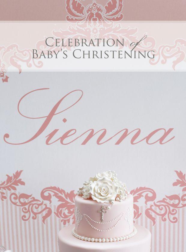 Baby girl baptism or christening celebration dessert table ...