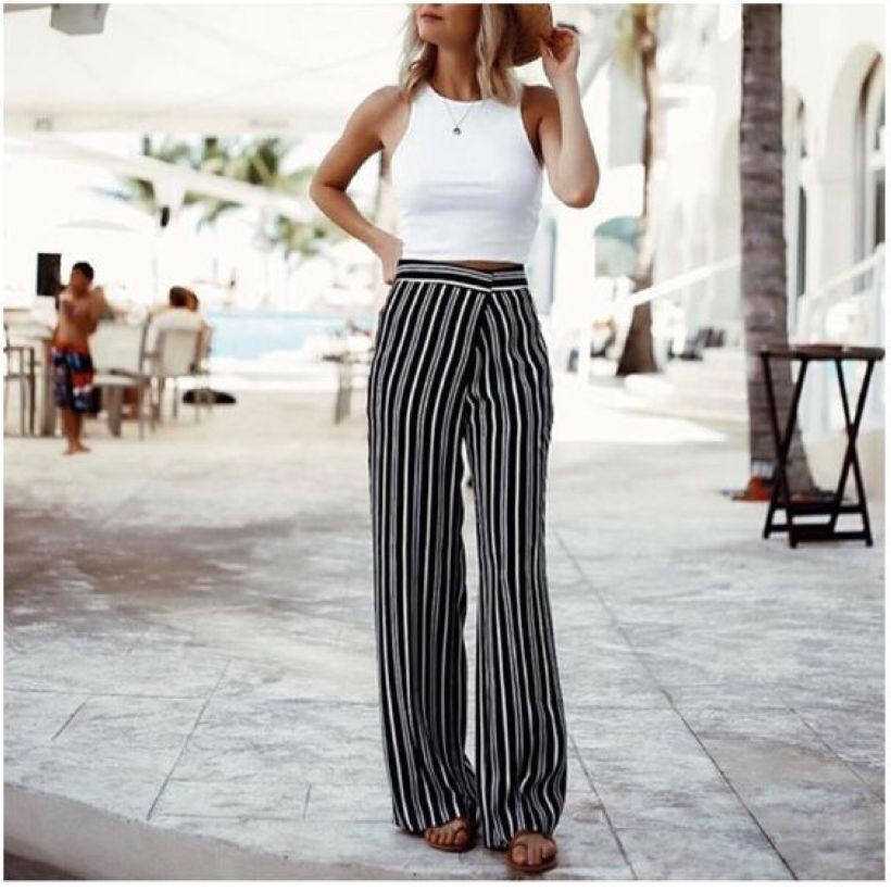 9a7935170bab 28 Ways to Dress Up with Vertical Striped Wide Leg Pants  Fashion https