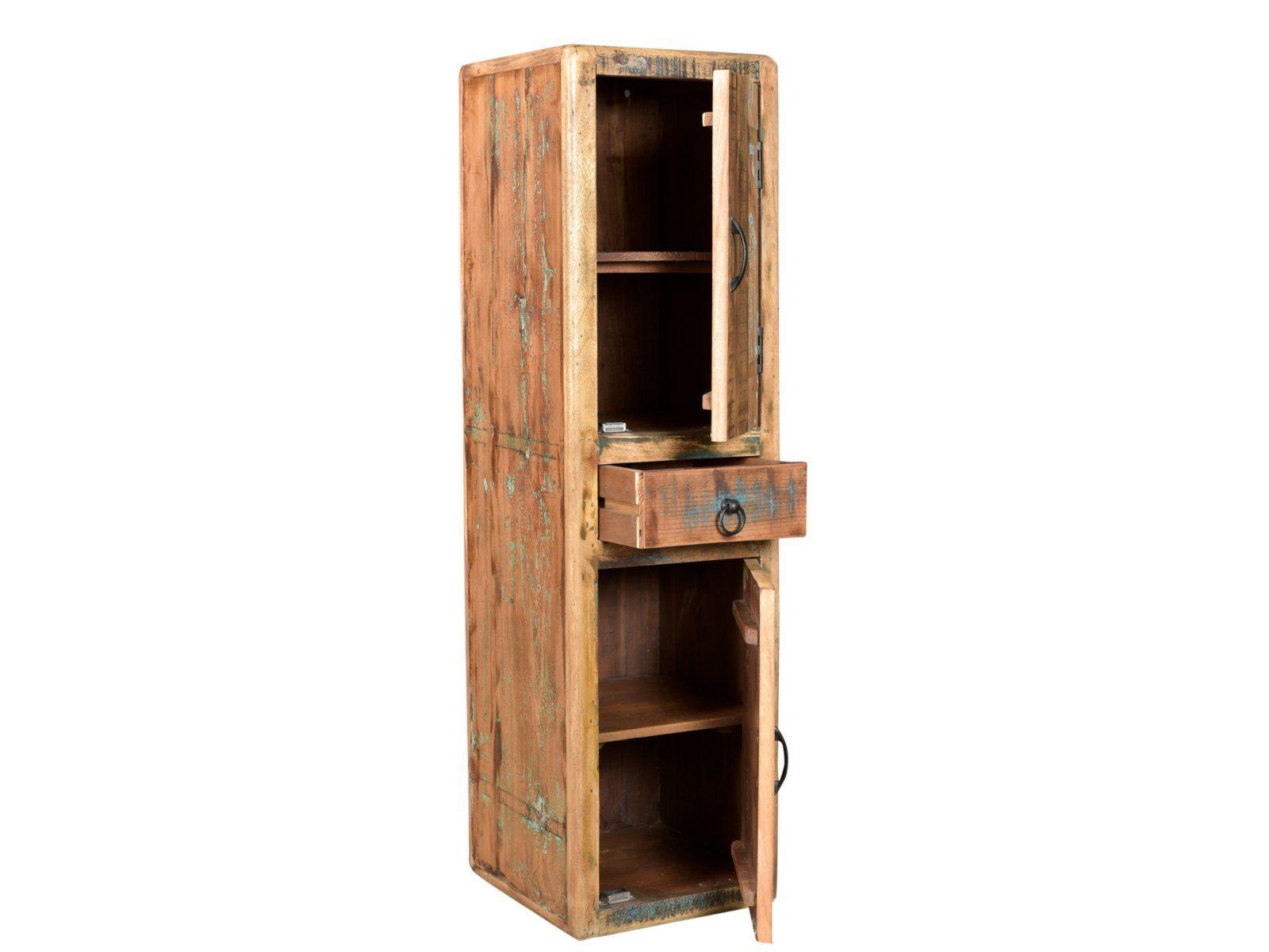 Woodkings Bad Hochschrank Kalkutta Recyceltes Holz Bunt Rustikal Hangebad Badhochschrank Massiv Badmobel Massivholz Ba Bad Hochschrank Hochschrank Wandschrank