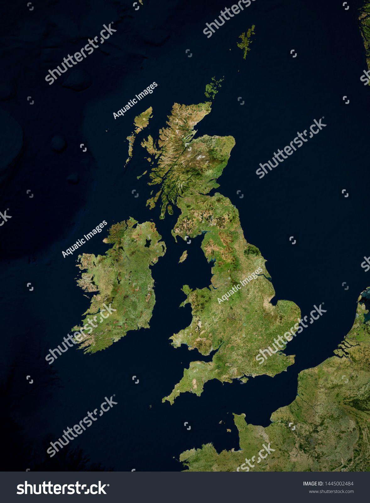 High Resolution Satellite Image Of Uk Ireland Isolated Imagery Of North Europe Elements Of This Image Furnished By Nasa Satellite Image Image Stock Photos