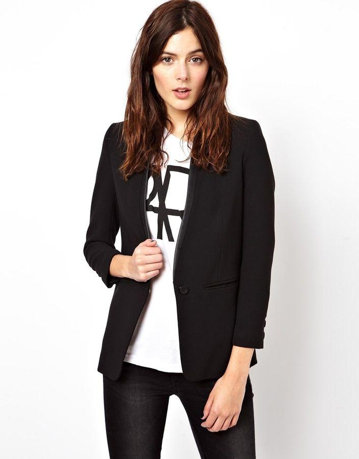 2499e662 Asos Blazer with PU Lapel on shopstyle.com | Clothing - Woman's Wear