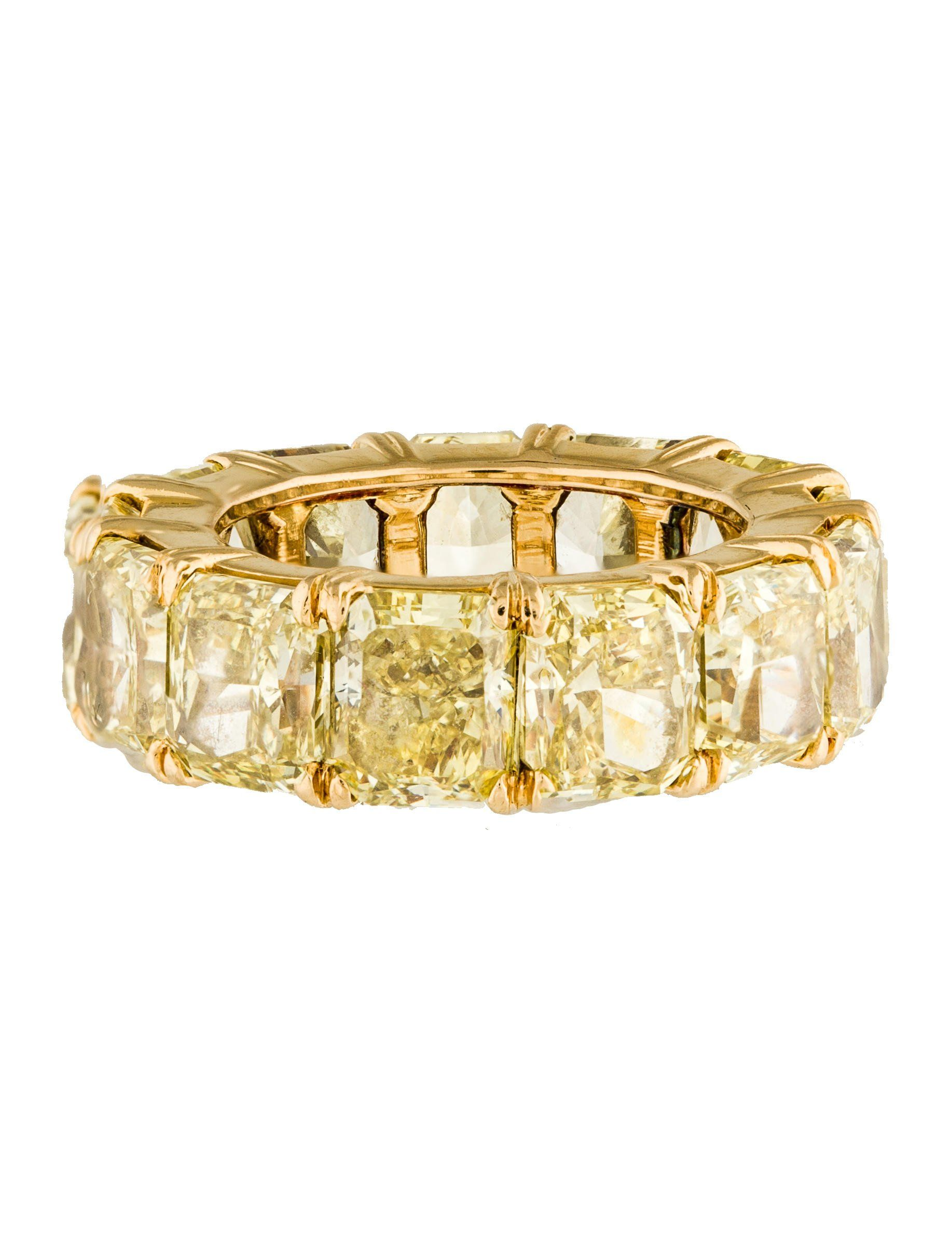eternity half and white round bands yellow cut diamond gold brilliant princess hoop ring band