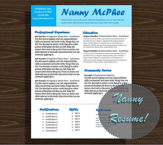 Bright Blue Resume Template Nanny Resume by NannyLikeAPro - nanny resume template