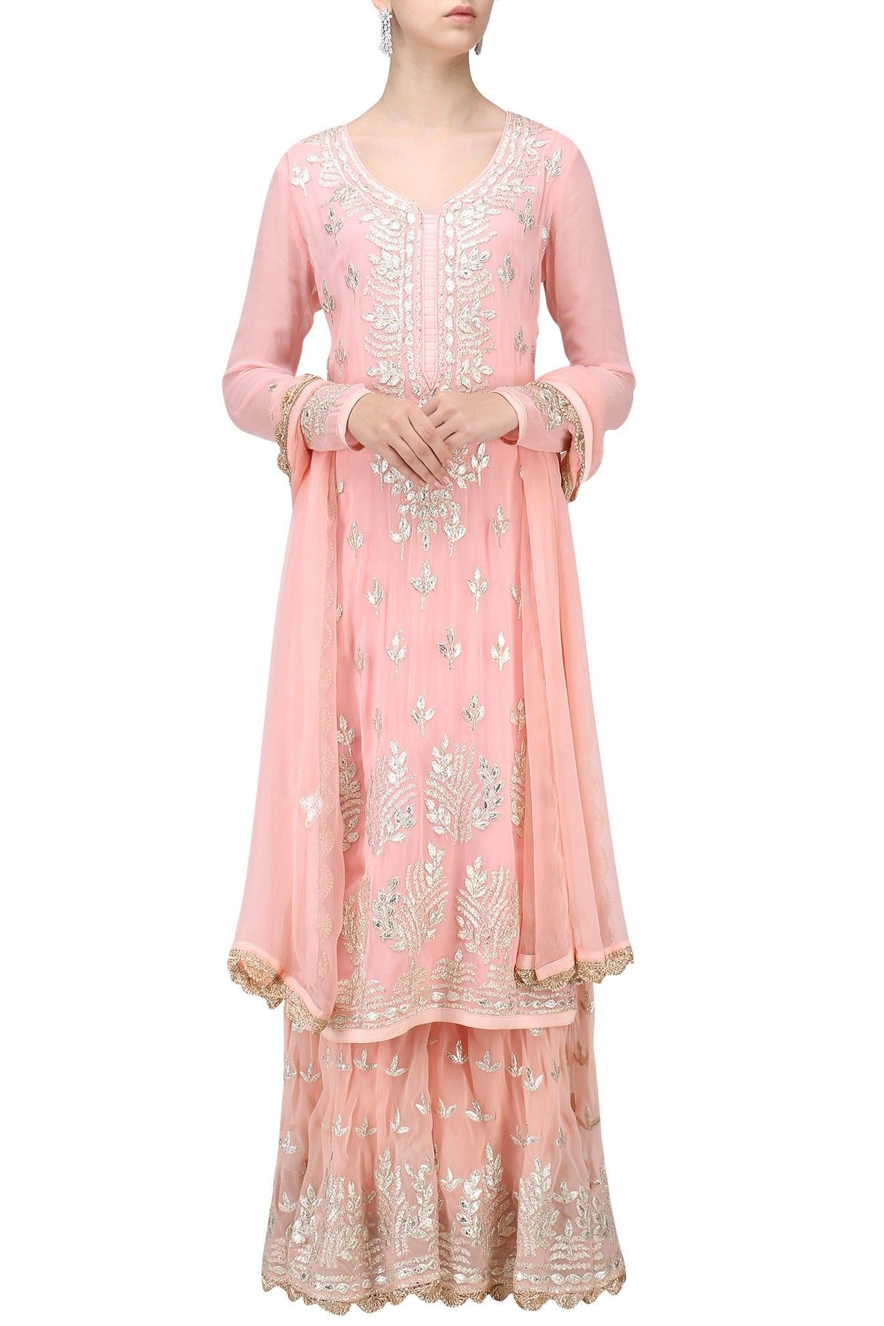 9c77876c64ad6b Baby pink gota patti embroidered kurta with sharara set available only at  Pernia's Pop Up Shop.