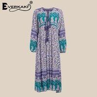 Everkaki Floral Print Gypsy Dress Women Vestidos Paisley Lantern Long Sleeve  Loose Bohemian Autumn Dresses For Women 2018 4eb0b63b53fb