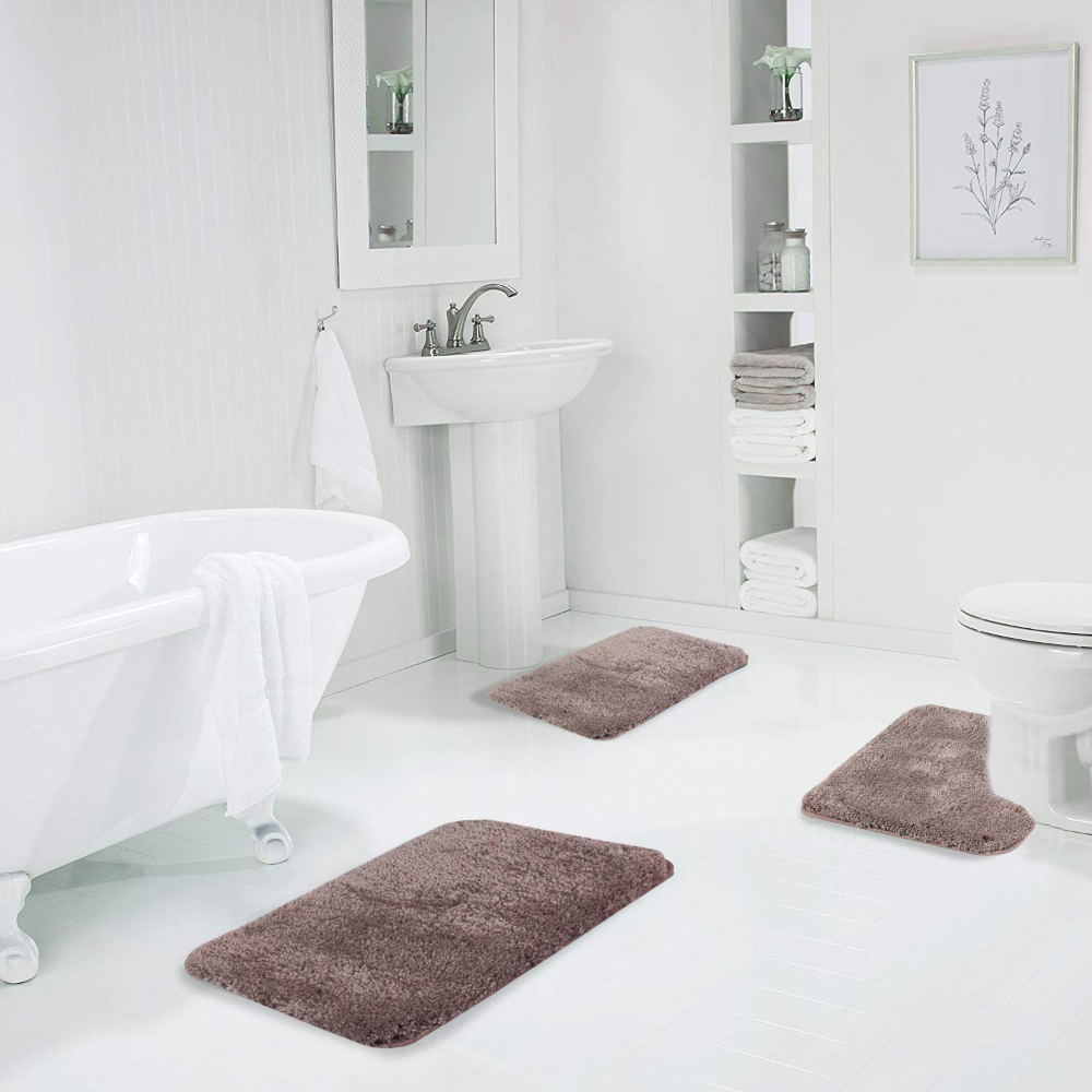 Walensee Shaggy 2 Piece Bath Rug Set Taupe 20 X 24 U Shape