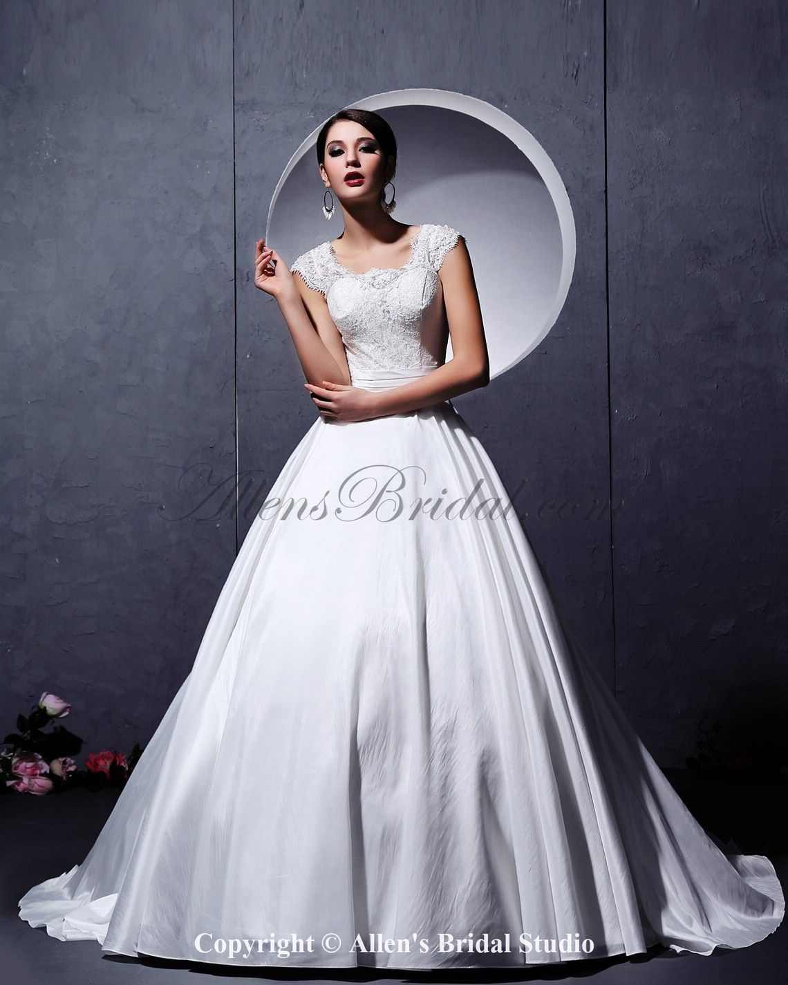 Satin and Lace Square Neckline Chapel Train Ball Gown Wedding Dress with Embroidered on sale at affordable prices, buy Satin and Lace Square Neckline Chapel Train Ball Gown Wedding Dress with Embroidered at AllensBridal.com now!