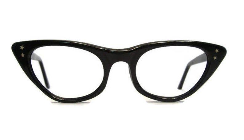 Vintage Black Cateye Eyeglasses Eyewear Frame USA 46-22 | Etsy