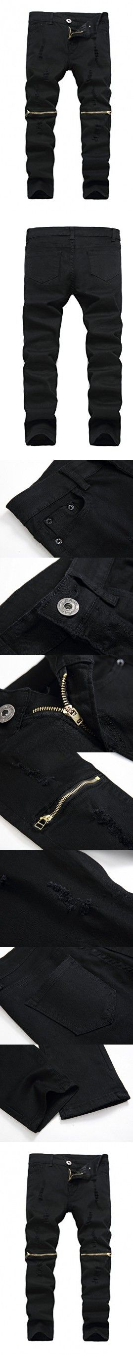 14222b97c Boy's Black Slim Fit Skinny Jeans Ripped Elastic Waist Pants with Zipper  for Kids