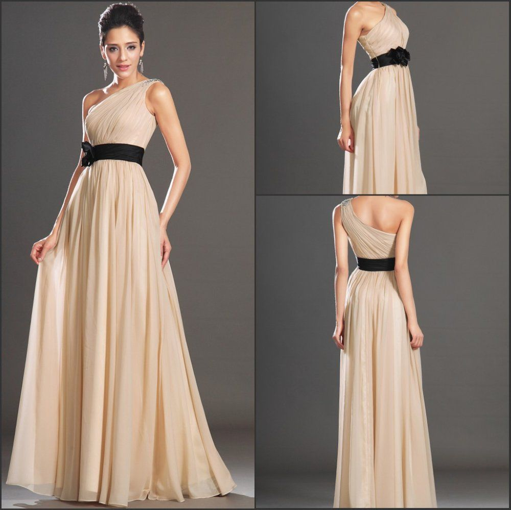 Free shipping new elegant one shoulder with beadings chiffon evening