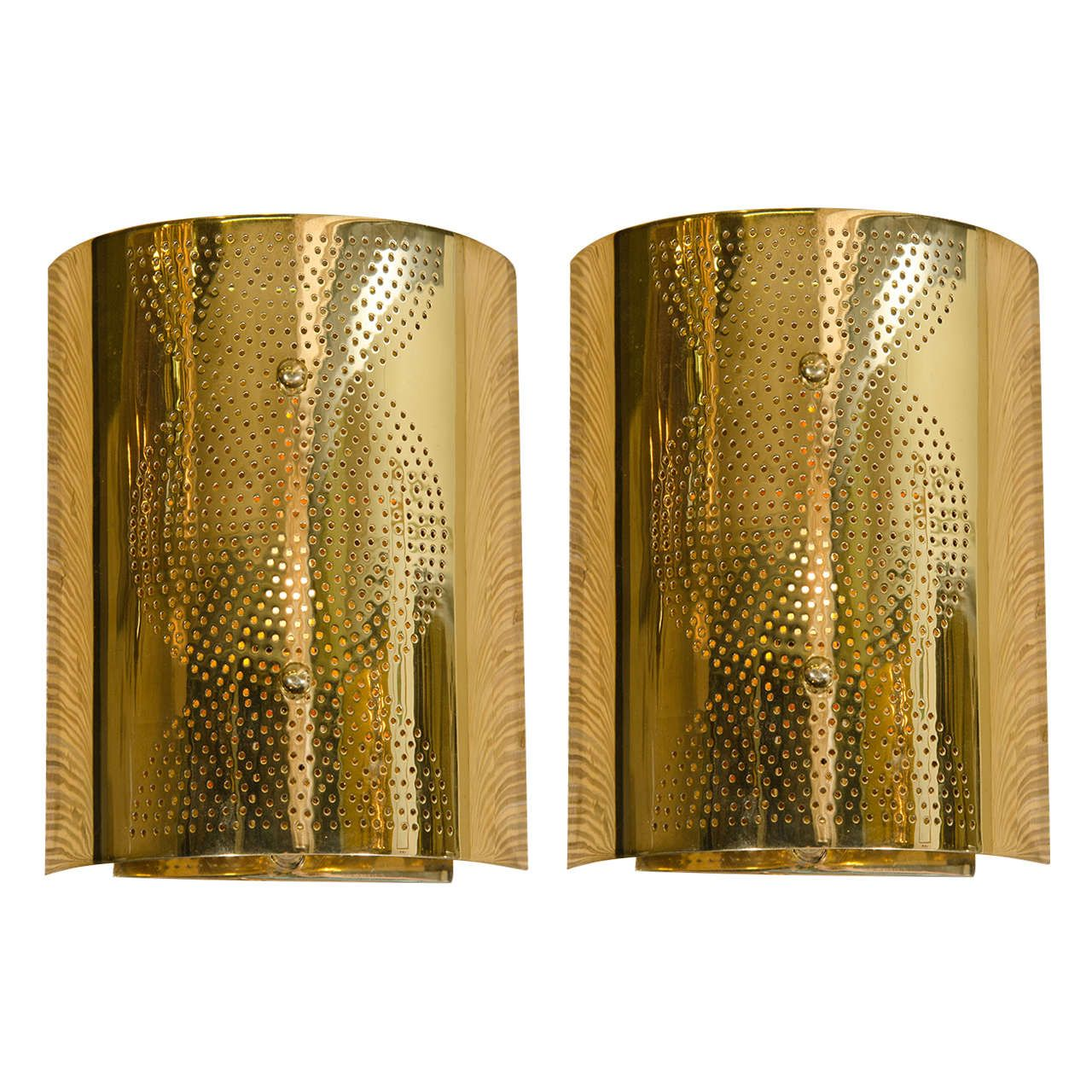 Contemporary Perforated Brass Wall Sconce | Wall sconces, Modern ...