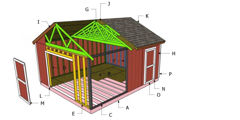 16x18 Gable Shed Roof Plans Myoutdoorplans Free Woodworking Plans And Projects Diy Shed Wooden Playhouse Pergola Diy Shed Shed Plans Shed Building Plans