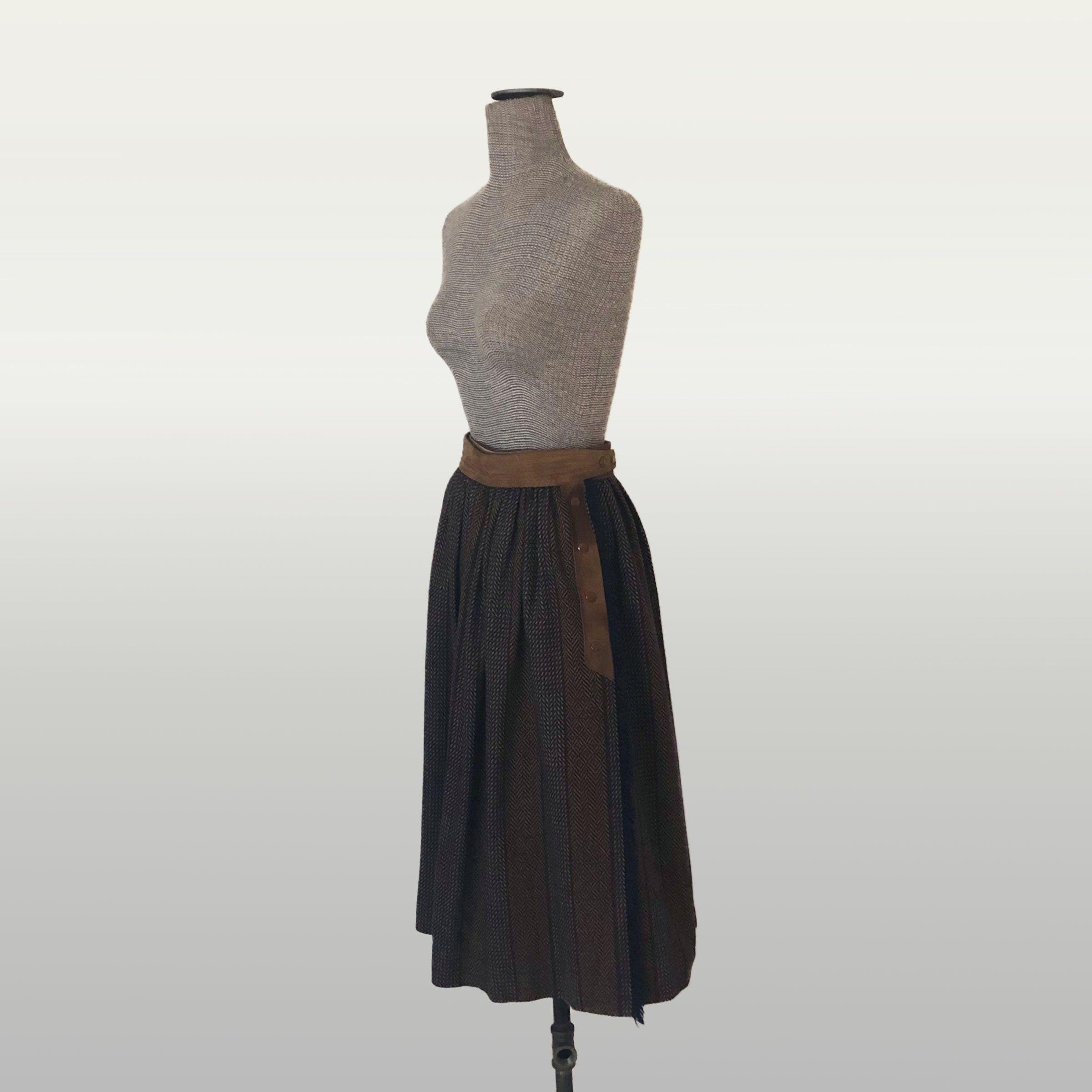 70s High Waister Vintage Woven Skirt 60s
