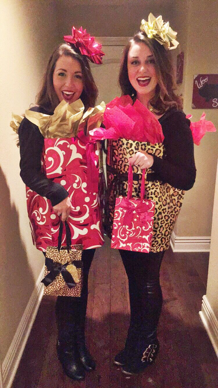 afc3ae61a75bd2 Cheapest costume ever. No glue needed. You need a large gift bag, small  gift bag, tissue paper, gift bow, ribbon, tape, headband. Cut the bottom  out of a ...