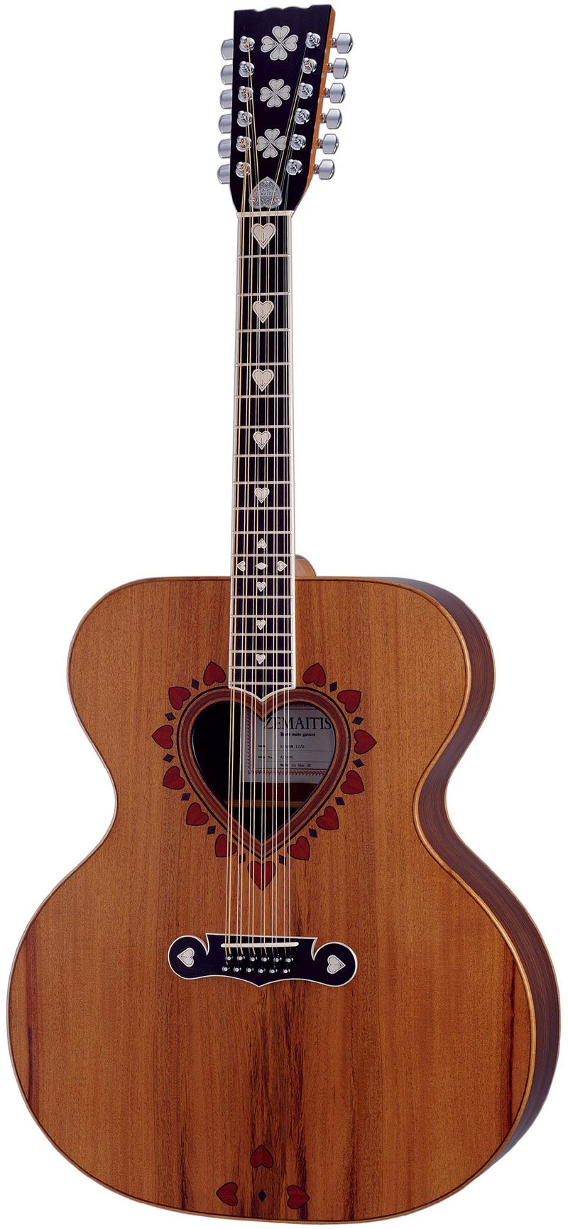 Zemaitis Z-SJHW 12-string acoustic guitar with heart shaped soundhole.