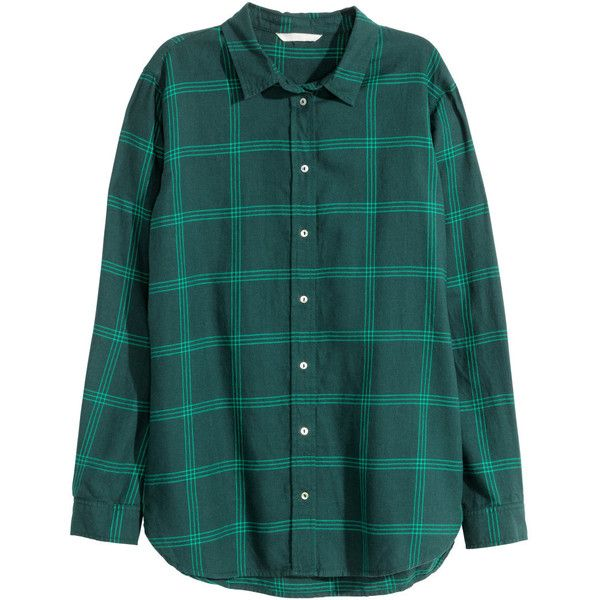 H&M Flannel shirt ($23) ❤ liked on Polyvore featuring tops, petrol, collared shirt, green shirt, collar top, longsleeve shirt and flannel shirts