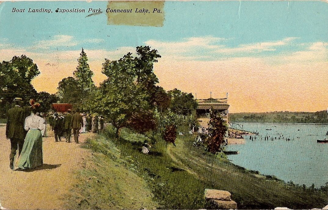 vintage postcard boat landing exposition park conneaut lake pennsylvania 1921 conneaut lake conneaut lake park conneaut pinterest