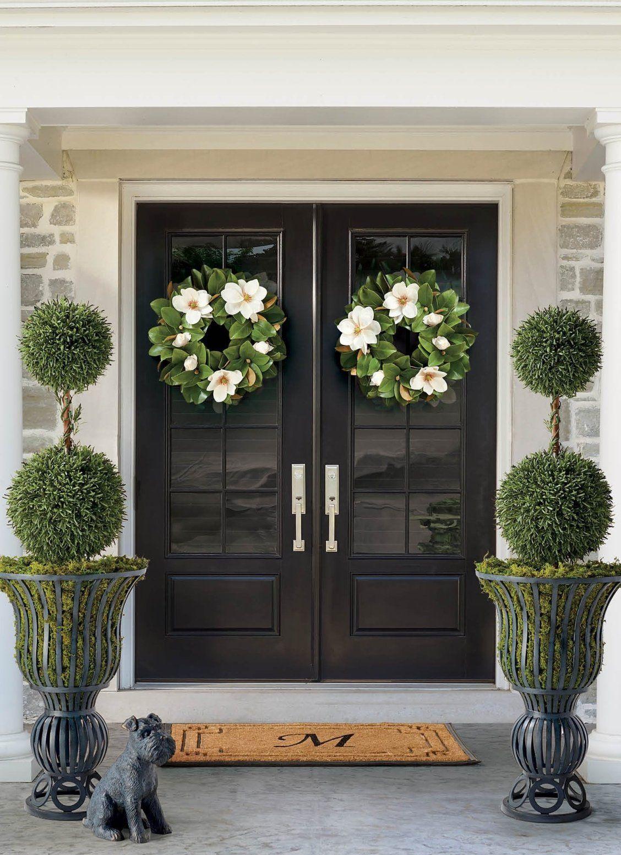 Magnolia Wreath Frontgate Front Porch Decorating Front Door Decor Porch Decorating