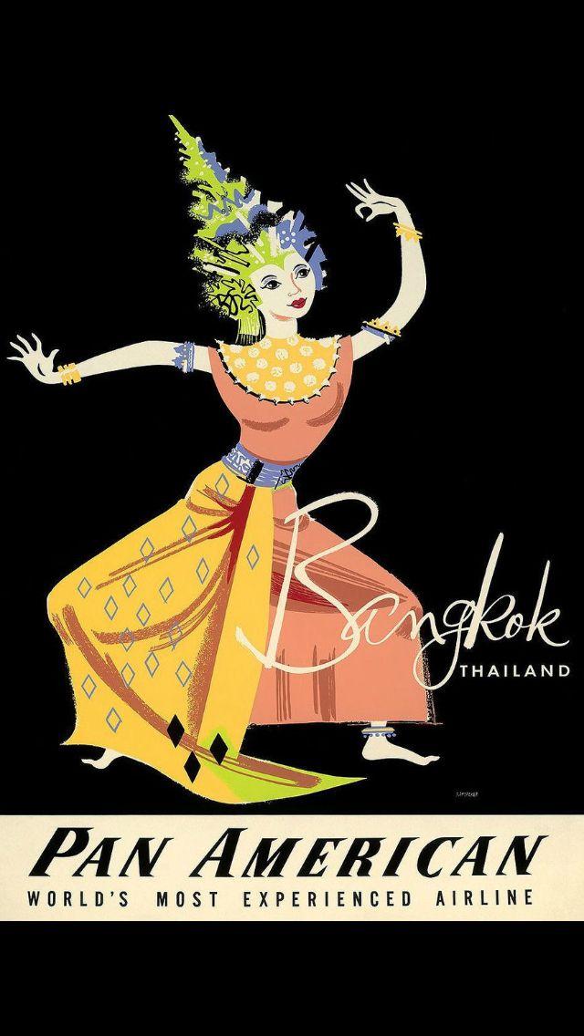 Vintage Air India Flights To Bangkok Poster  A3 Print