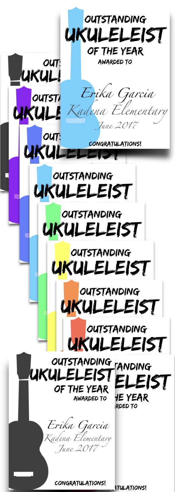 Ukulele End Of Year Award Certificate  Editable  Certificate