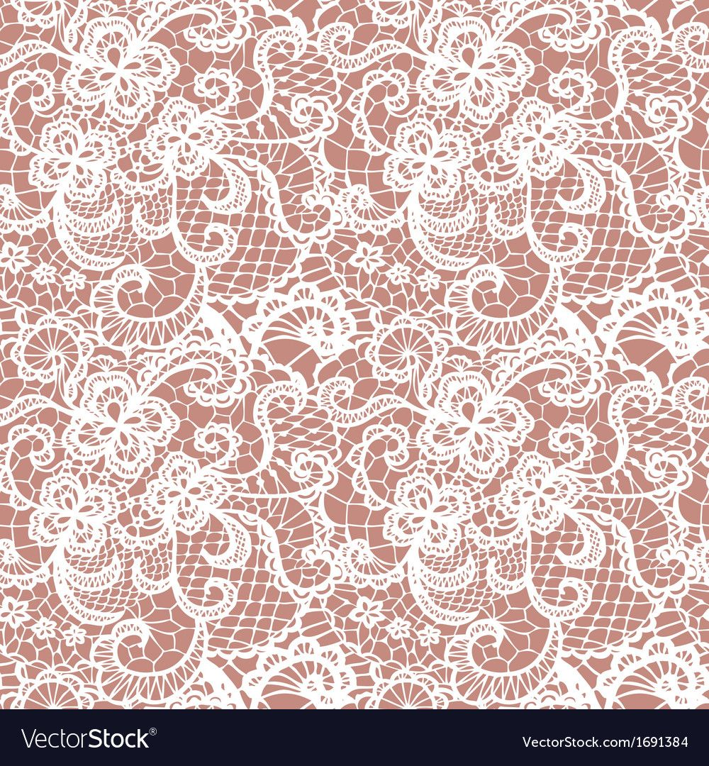 Lace Seamless Pattern With Flowers Vector Image On Vector