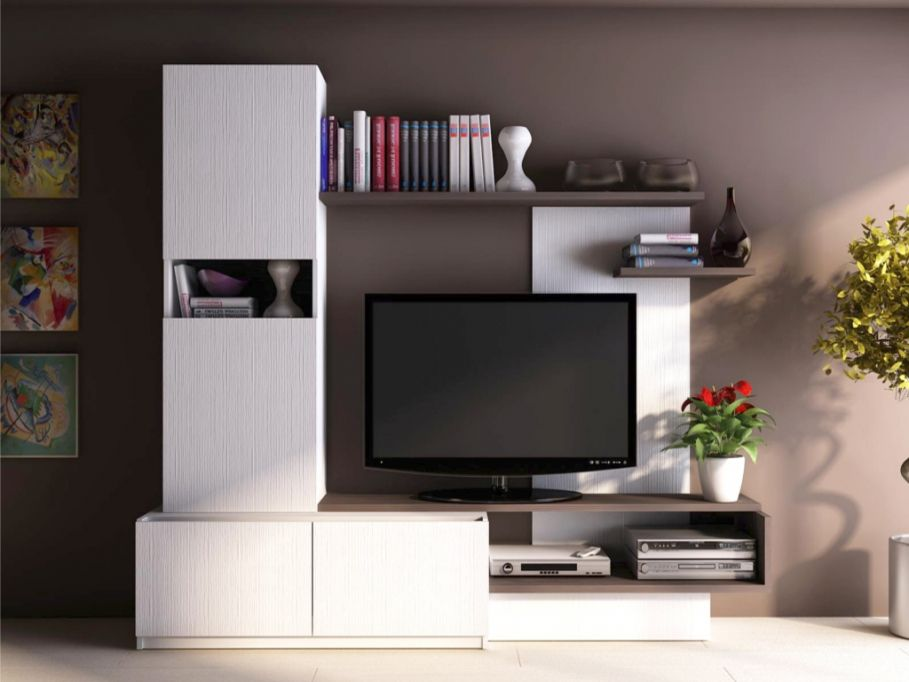Mur Tv Rodrigo Avec Rangements Meuble Tv Vente Unique Bon Shopping Com Tv Room Design Wall Tv Unit Design Hall Interior
