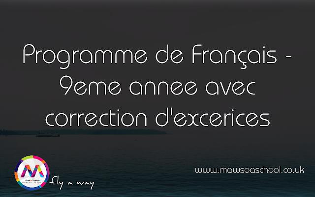 Programme De Francais 9eme Annee Avec Correction D
