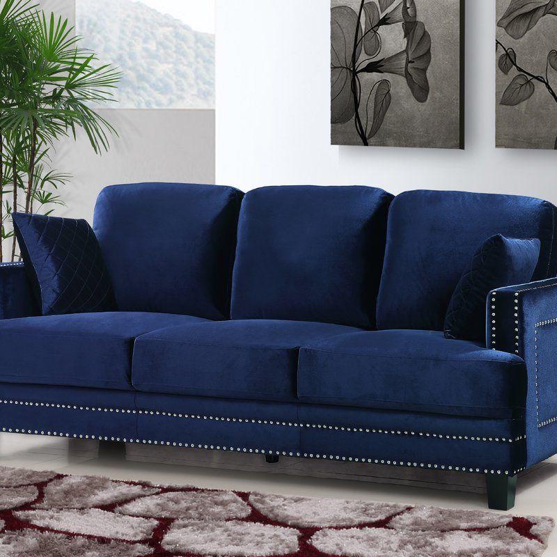 Kia Velvet 83 5 Recessed Arm Sofa Nailhead Sofa Usa Furniture Living Room Furniture