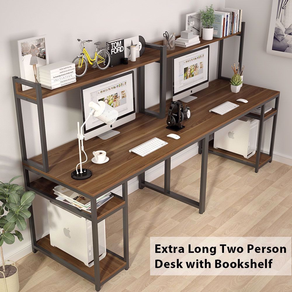 The Two Person Computer Desk Features An Open Shelf For Storing