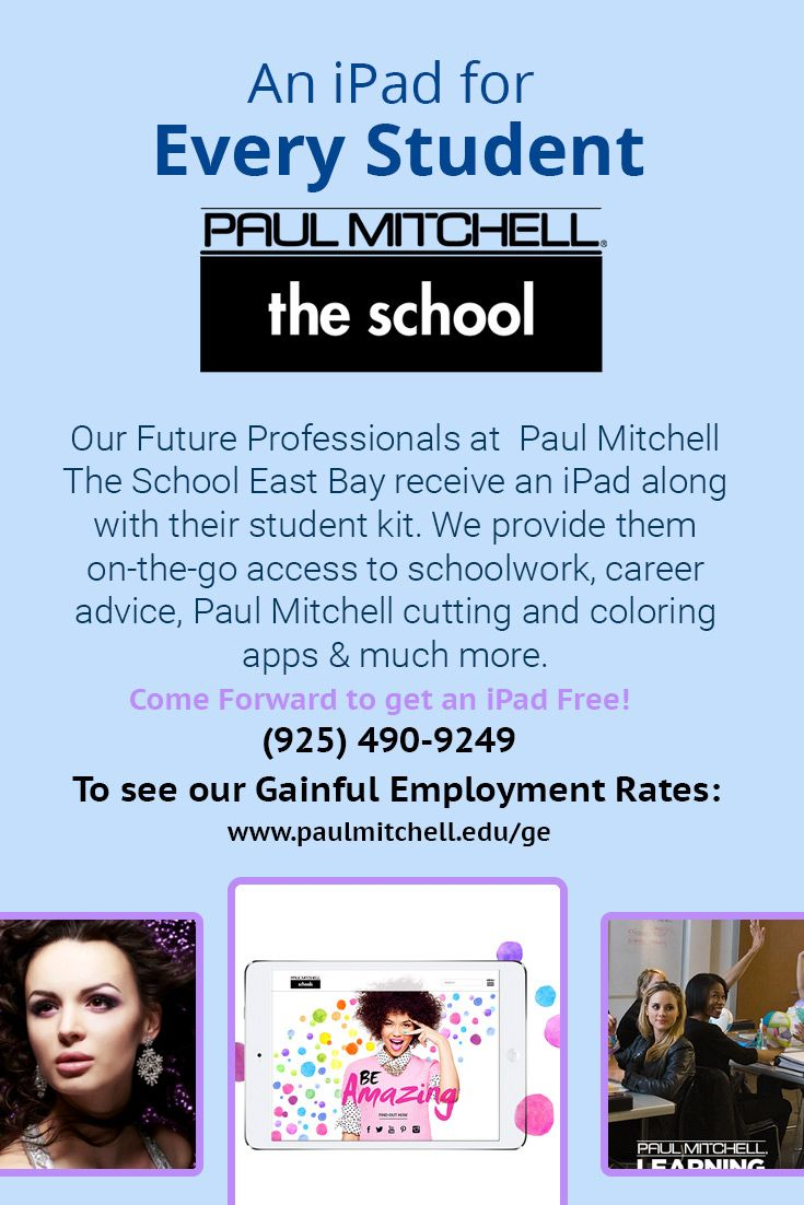 Our Future Professionals at #Paul_Mitchell The School East Bay receive an iPad along with their student kit. We provide them on-the-go access to schoolwork, career advice, Paul Mitchell cutting and coloring apps & much more.