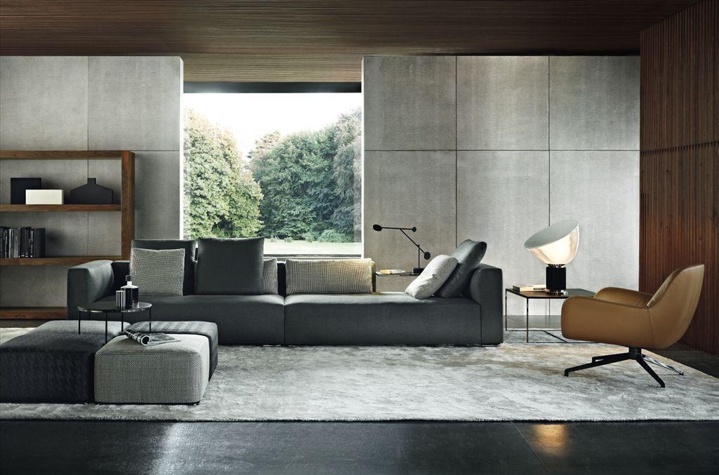Minotti Mobili ~ Minotti sofa: the wall panels make the space minimal interiors