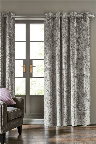 Grey Crushed Velvet Eyelet Blackout Curtains Crushed Velvet Living Room Grey Curtains Living Room Velvet Curtains Bedroom