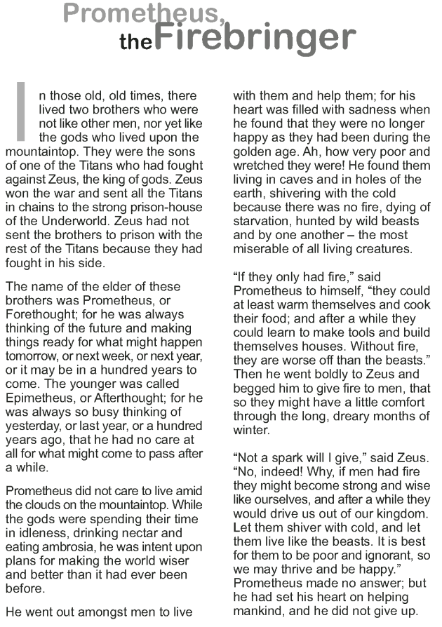 Grade 9 Reading Lesson 18 Myth and Folklore – Prometheus the Fire ...