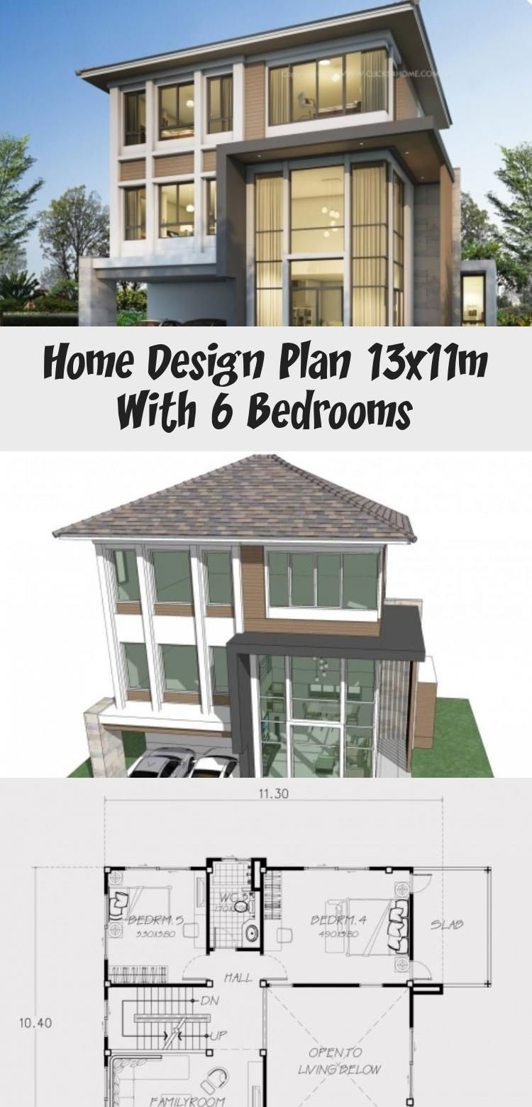 Home Design Plan 13x11m With 6 Bedrooms Home Design Plan House Design Modern House Design