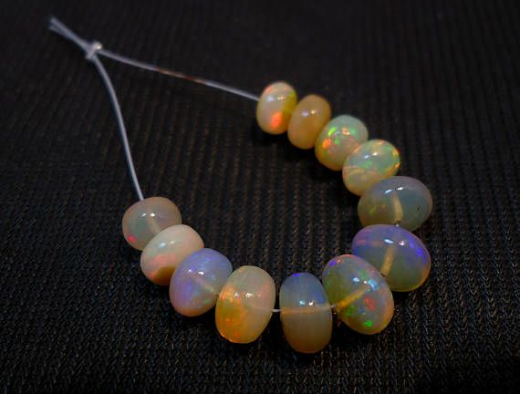 AA Quality Ethiopian Opal Welo Fire Plain Rondelle Beads 12 Pieces 20 carat Good Price A10