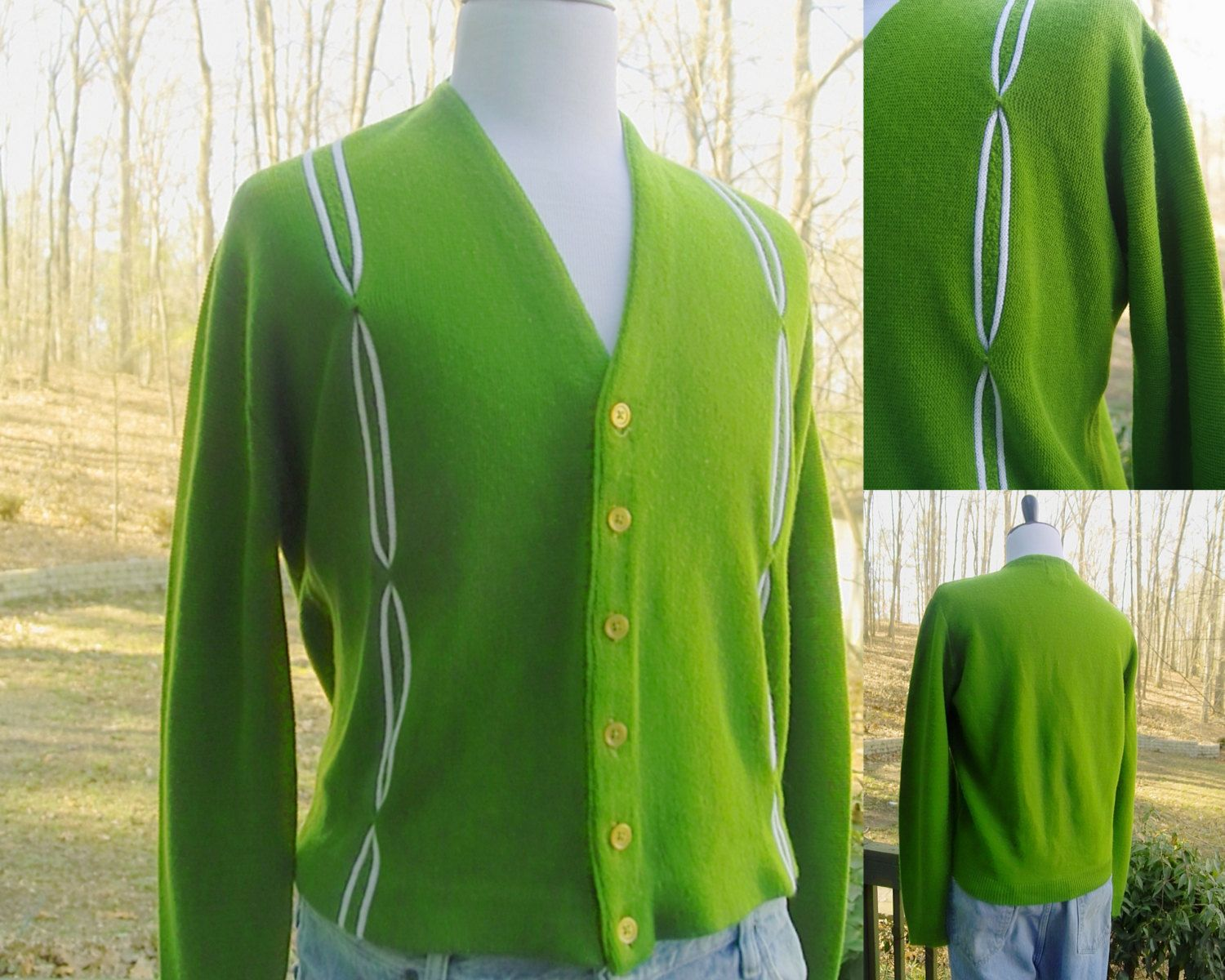1950s 1960s Vintage Lime Green Golf Mens Buttoned Down Cardigan ...