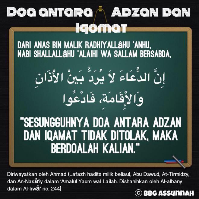 Doa Antara Adzan Dan Iqamat Sembahyang