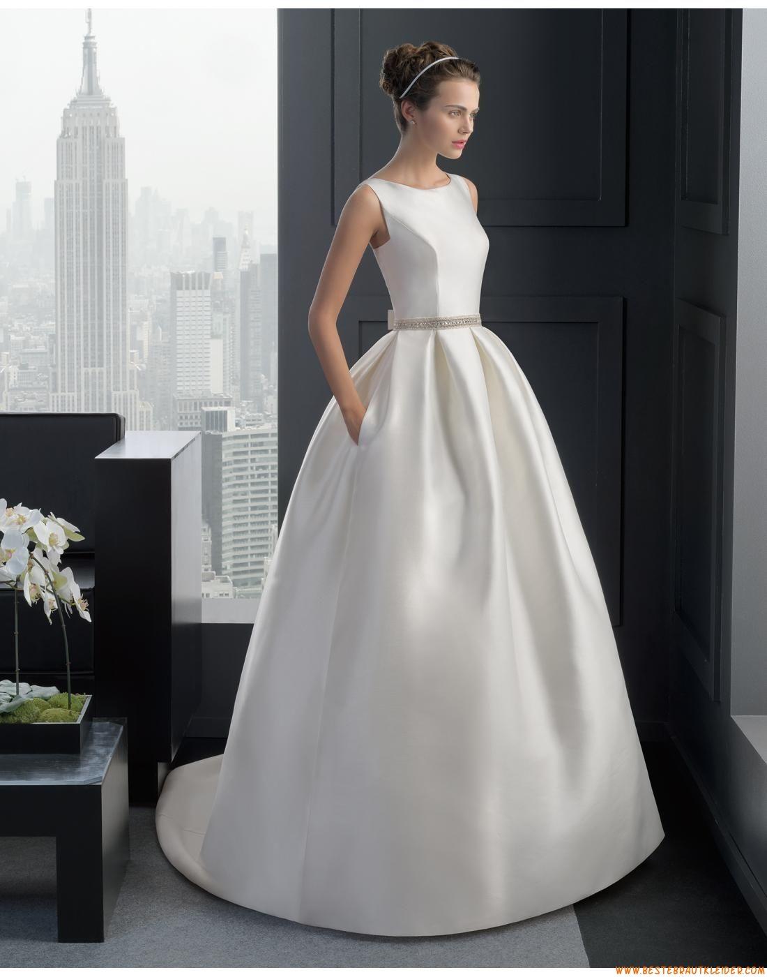 12 Ballkleid Schlichte Moderne Brautkleider aus Taft mit