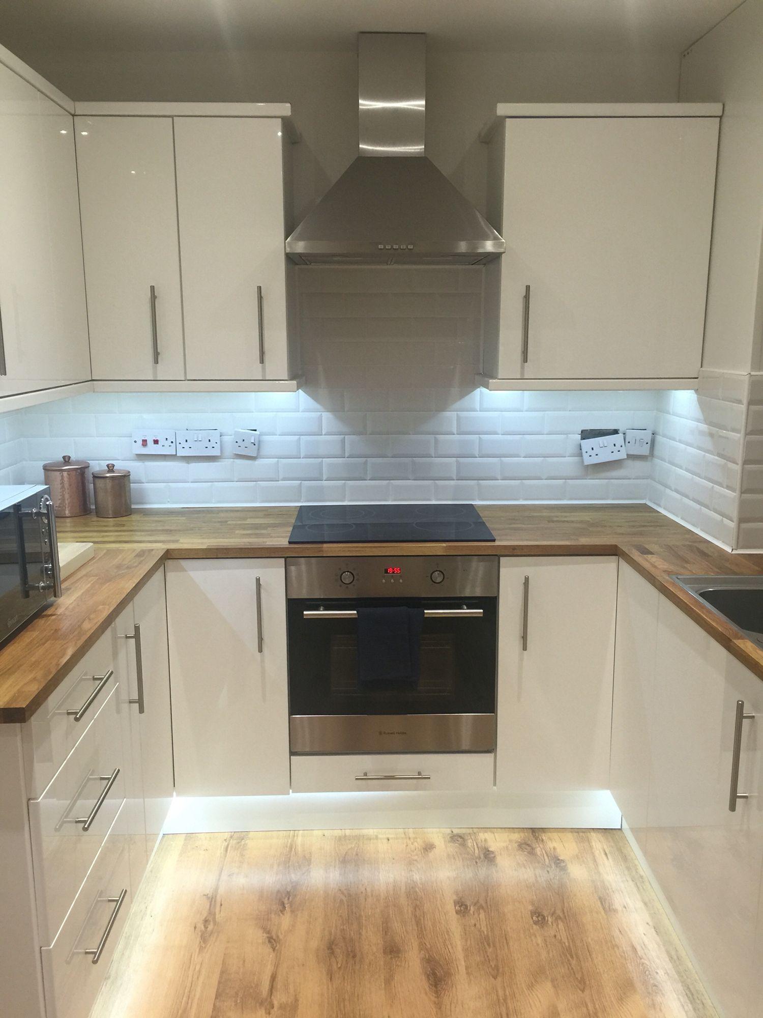 B&Q small kitchen, white, gloss, wooden, subway tiles