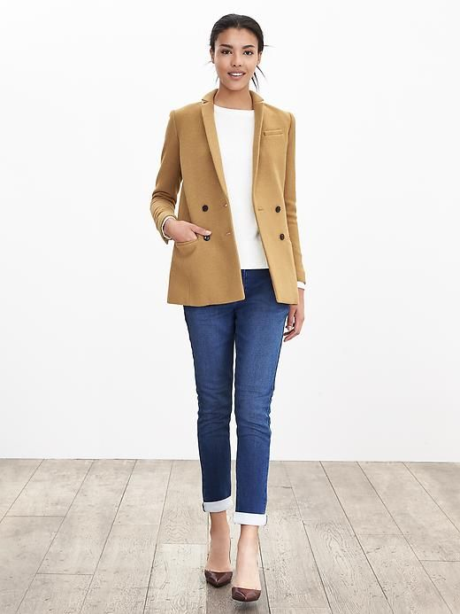 Camel Double-Breasted Blazer Product Image