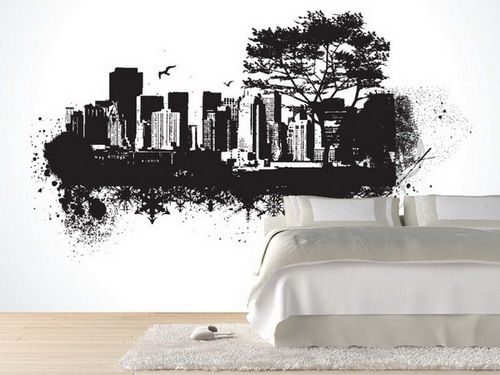 Cool Black And White City Wall Mural With Simple Bedding Sets In Teenage  Bedroom Design Ideas