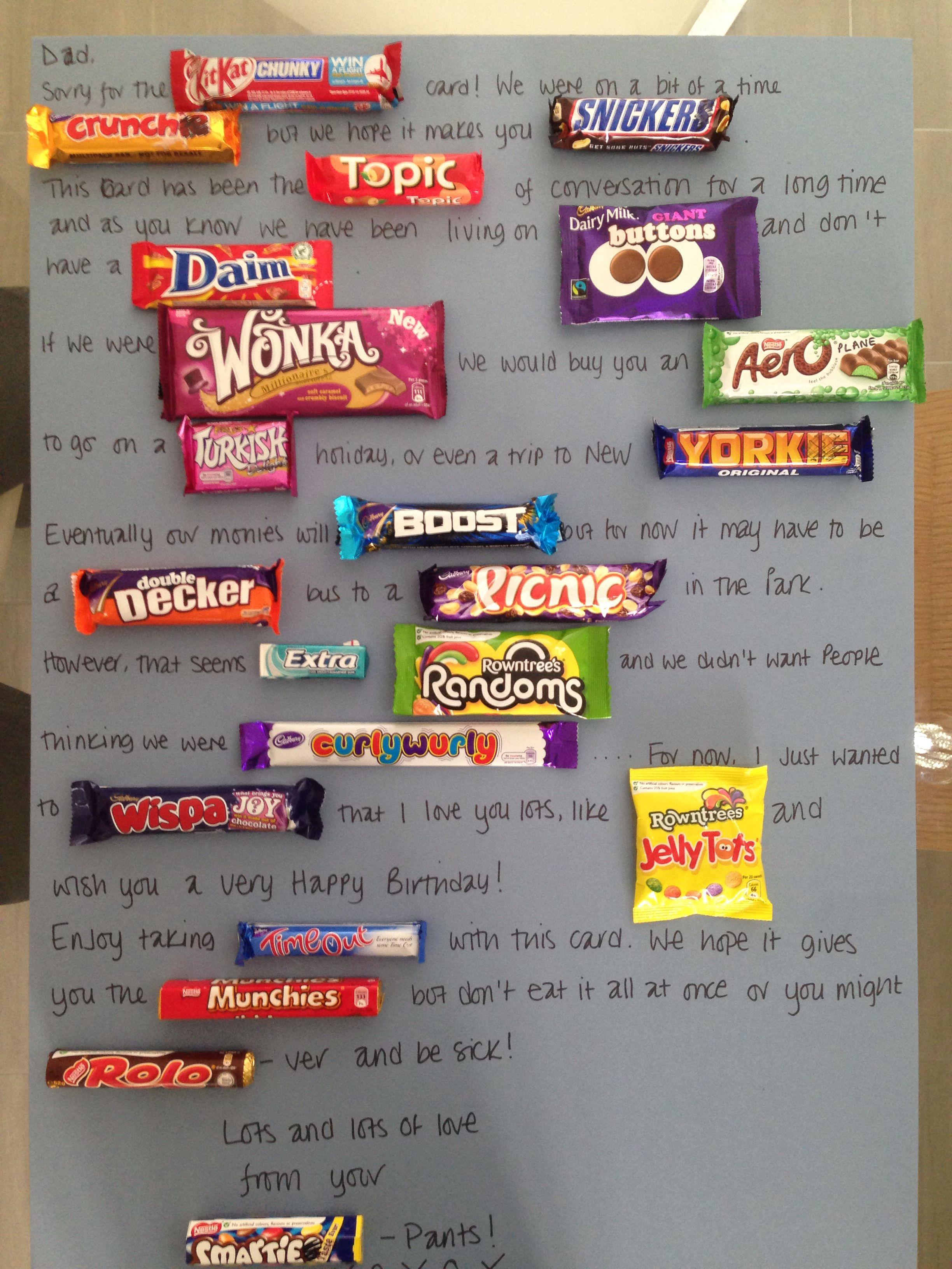 Chocolate bar card candy birthday cards bar card