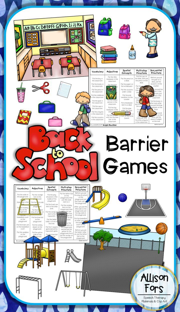 back to school barrier games speech therapy materials made by slps for slps barrier games. Black Bedroom Furniture Sets. Home Design Ideas