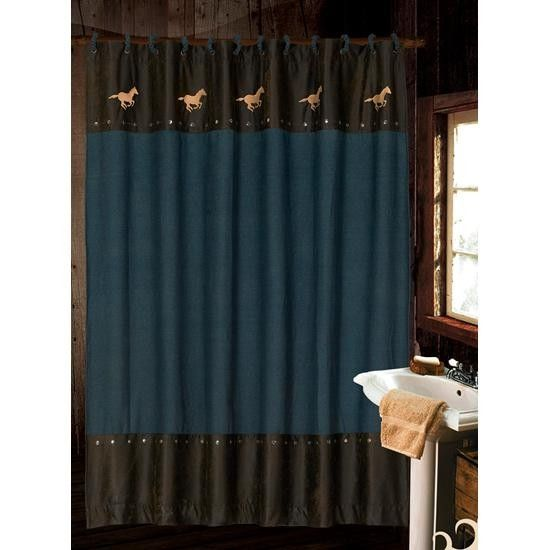 Faux Leather Shower Curtain With Horse Running