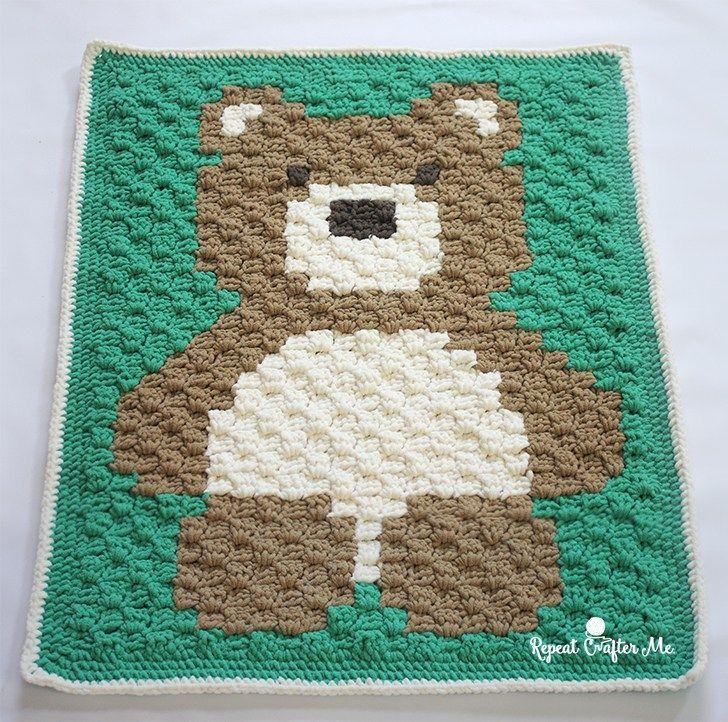 Crochet C2C Bernat Blanket Bear (Repeat Crafter Me) | Decken, Häkeln ...