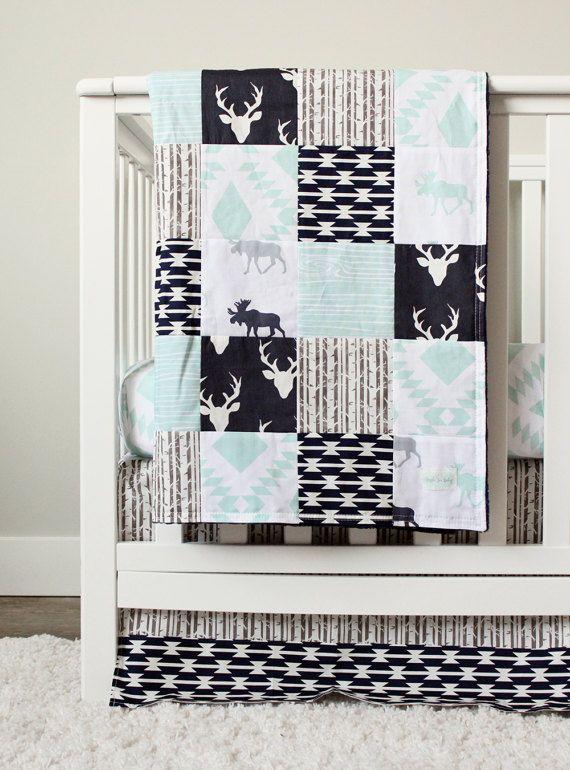 Chambre bébé garçon lit literie, orignal, cerf ensemble, lit de bébé