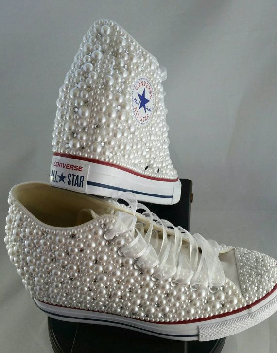 9e5364be56ae Wedge Wedding Converse- Bridal Sneakers- Bling   Pearls Custom ...