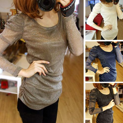 Womens Slim Long Puff Sleeve T-shirt Lace Loose Illusion Blouse Top