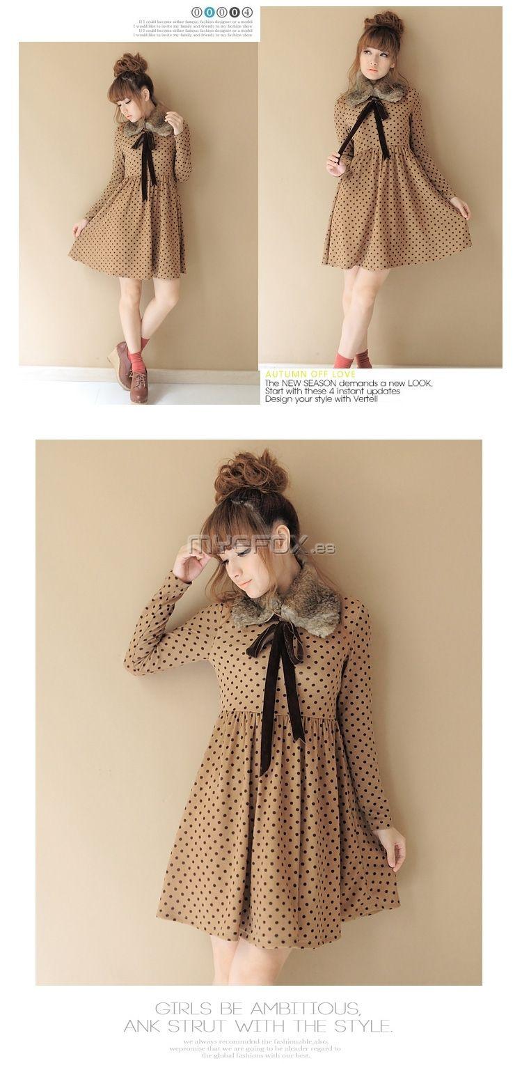 2012 nuevo vestido en primavera con cuello de lana que se puede quitar D00237-Vestido
